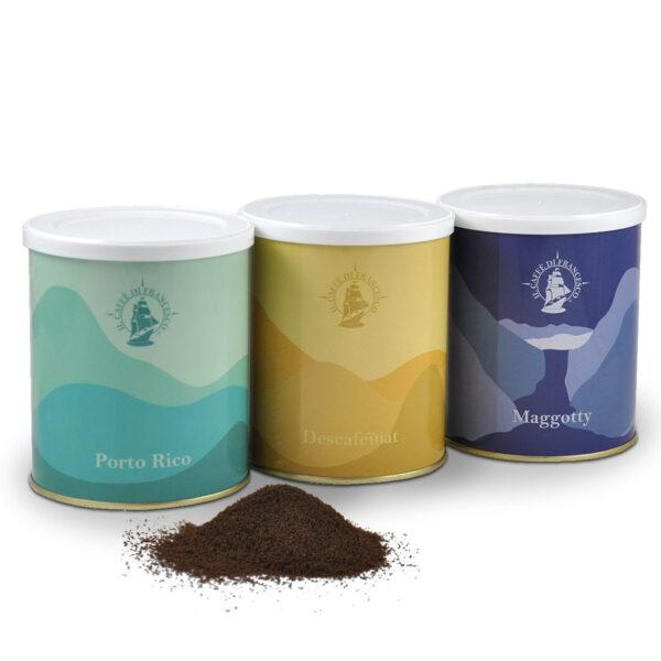 3 llaunes de cafe molt portorico, descafeinat i maggotty